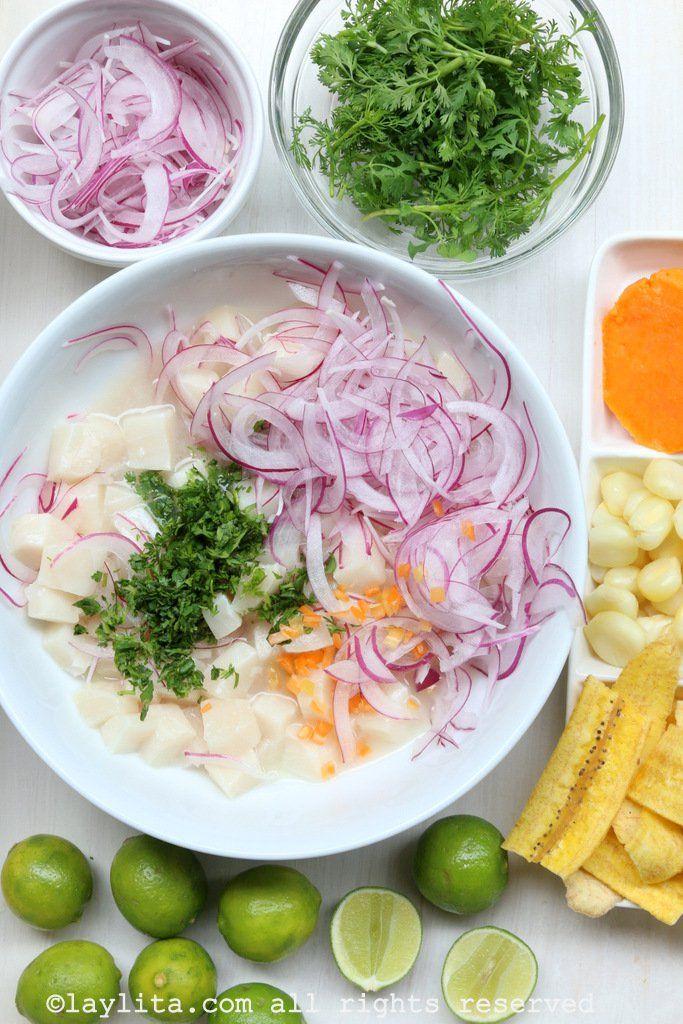 Preparacion del cebiche peruano de pescado