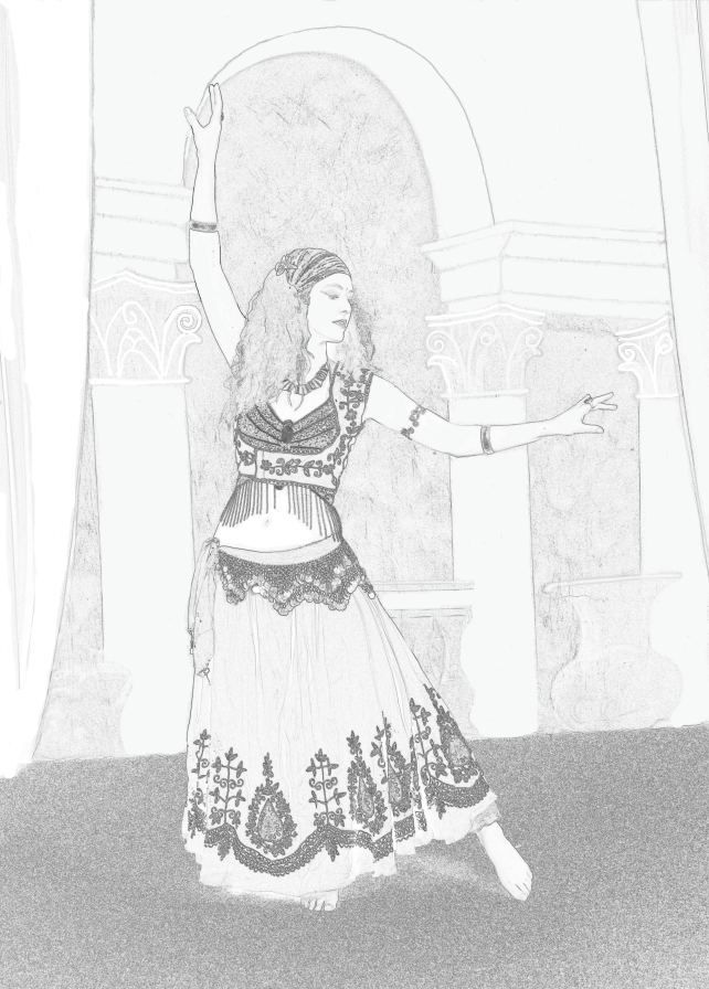 Jade, black and white image colouring in. Detailed colour in belly dancer. Color in Coloring in Belly dance, bellydance