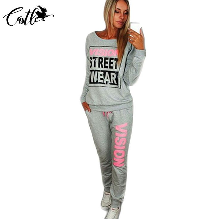 2017 Spring New PiNK Vision Street Wear Print Women's Tracksuits O-Neck Suit Set Suits For Women Female Size S-XL Gray/Black