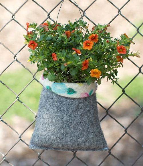 DIY upcycle sweaters into plant pouches