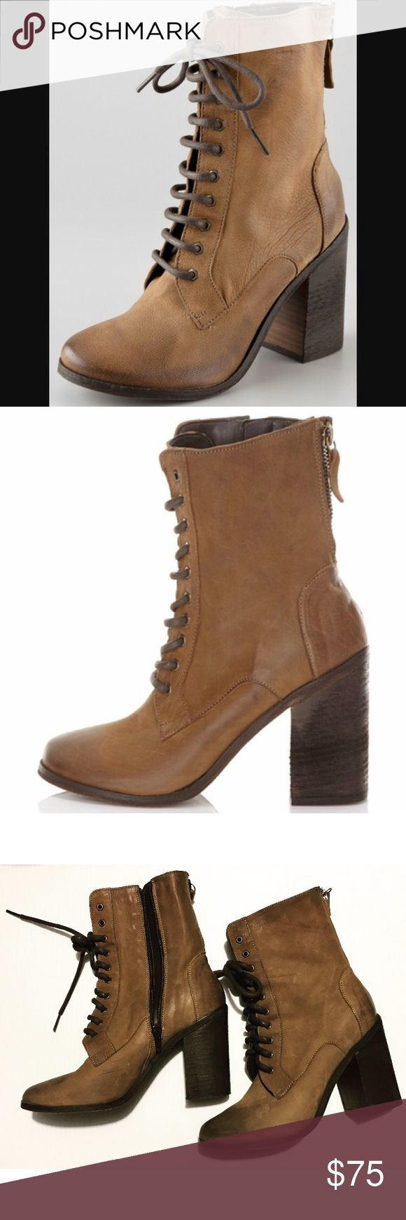Boutique 9 Dustan Lace Up Combat Boots Sz 7M Boutique 9 Lace Up Stacked Heel Combat Boot Style name : Dustan Size 7m Color cognac  Made in Romania   Pre-owned / size 7 ( can fit 7.5) / from Nordstrom Boutique 9 Shoes Lace Up Boots