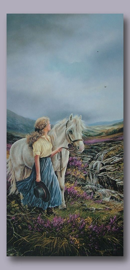 """A painting of Penny and """"Skylark"""", that hangs on the wall of her home on """"La Buena Vita"""" Ranch."""