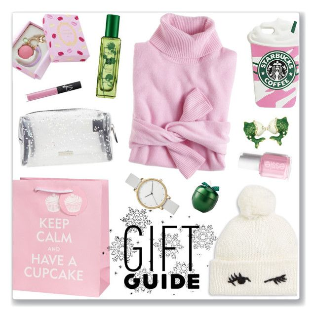 Winter gift guide by nastenkakot on Polyvore featuring polyvore, fashion, style, J.Crew, Skagen, Kate Spade, Ladurée, NARS Cosmetics, Jo Malone and clothing