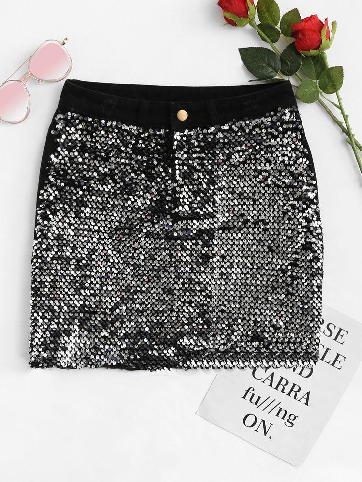 Shop Raw Hem Sequin Denim Skirt online. SheIn offers Raw Hem Sequin Denim Skirt & more to fit your fashionable needs.