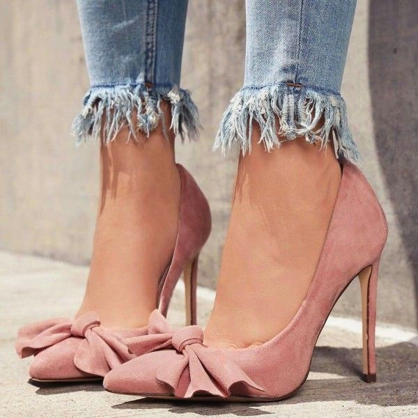 af7e8b851d609 Pink Pointy Toe Bow Heels Suede Stiletto Heel Pumps in 2019 ...
