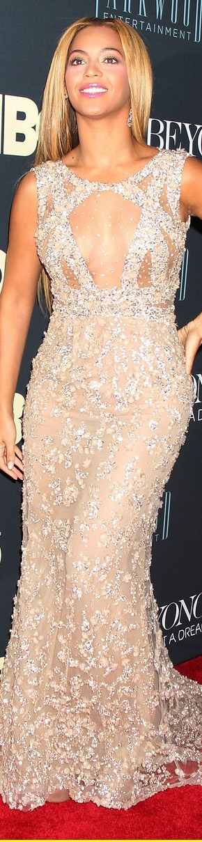 Beyonce wearing Ellie Saab on the Red Carpet for the upcoming HBO Documentary on her life.