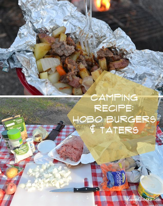Camping Recipes: Hobo Burgers and Taters. Was good, easy, added cheese before eating. I liked it, but it did take a good 40-45 min. To cook. You can make these ahead of time too.