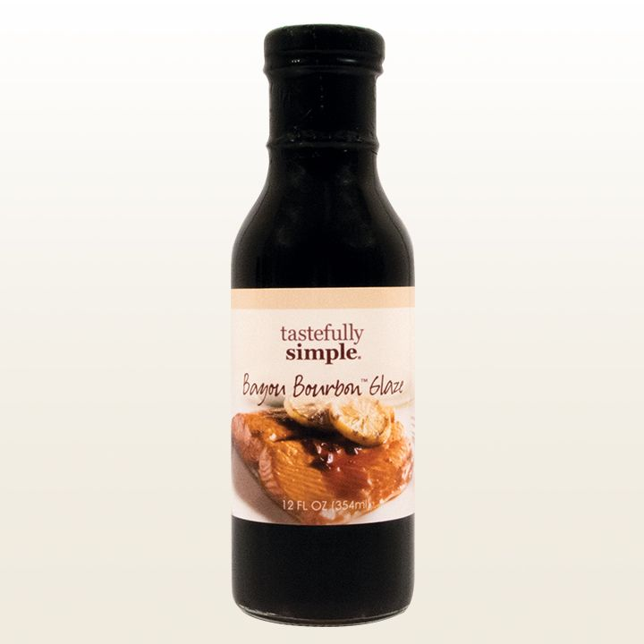 Bayou Bourbon™ Glaze | Tastefully Simple | This savory brown sugar bourbon sauce has hints of onions, garlic and molasses. Excellent spooned over salmon, ribs, pork chops and pecan-crusted chicken.