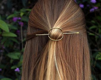 Open circle hair slide silver hair clip hammered brass by Kapelika