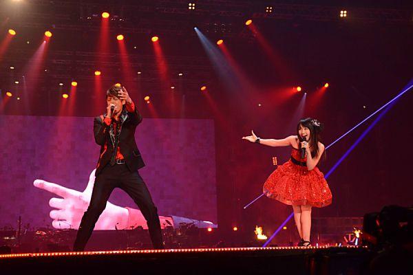 Mamoru Miyano and Nana Mizuki @ Animelo Summer Live 2013. Photo by Barks.jp