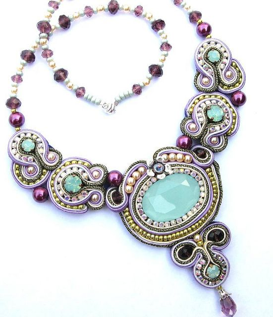 Aqua lilac soutache necklace