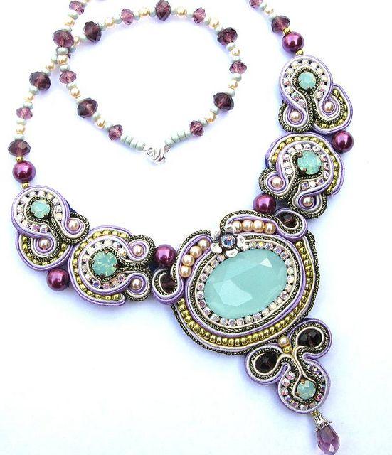Aqua lilac soutache necklace