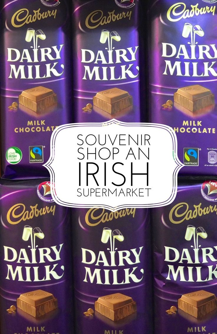 Shop an Irish supermarket for edible travel souvenirs like chocolate made from Irish milk, soda bread and cheese.