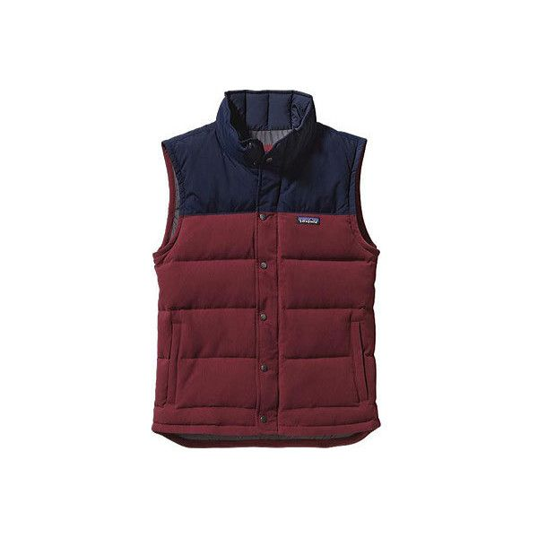 Men's Patagonia Bivy Down Vest - Oxblood Red Down Jackets ($179) ❤ liked on Polyvore featuring men's fashion, men's clothing, men's outerwear, men's vests, red, mens red vest, mens insulated vest, mens quilted vest, mens down jacket and mens vest
