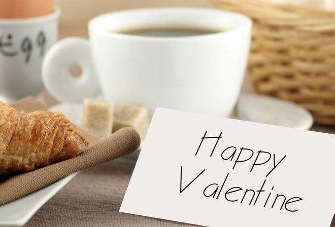 Завтрак, посуда, валентинка, праздники, день, влюбленных