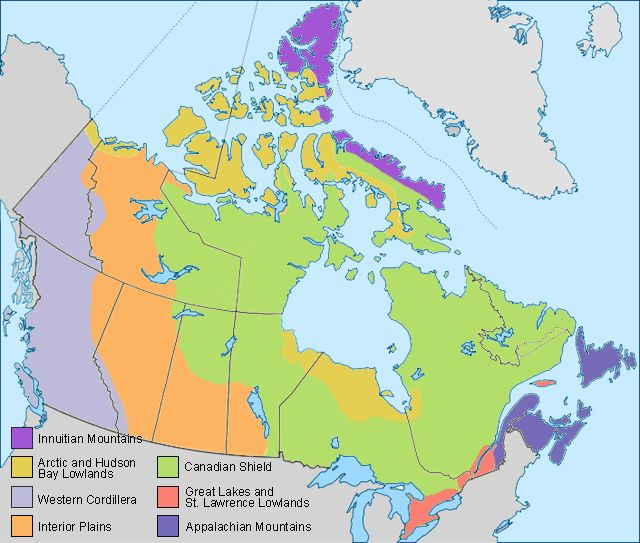 map of Canada with regions labeled