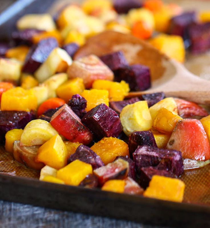 Roasted root vegetables are dressed up with cinnamon and a ...