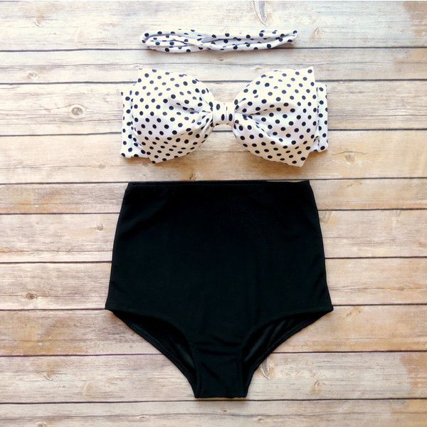 Bow Bandeau Bikini - Vintage Style High Waisted Pin-up Swimwear -... ($49) ❤ liked on Polyvore featuring swimwear, bikinis, swimsuit tops, polka dot high waist bikini, bikini tops, black and white bikini top and halter bikini tops