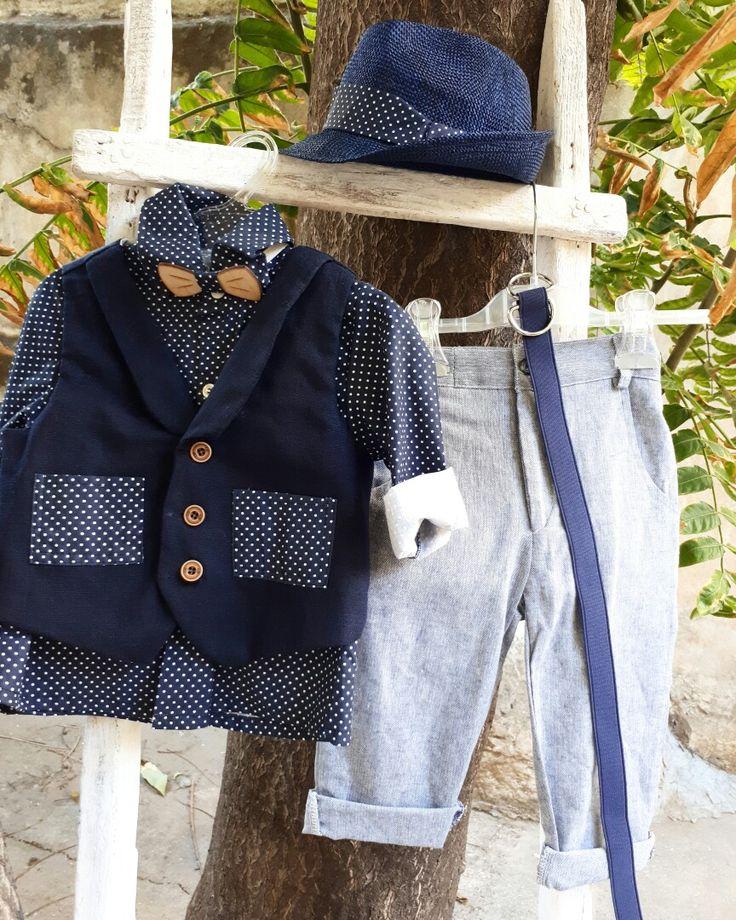 Βαπτίστικο ρούχο για αγοράκι σε μπλε πουά πουκαμισάκι με απαλο τζιν παντελόνι! βαπτίστικα ρούχα για αγορακι!καλέστε 2105157506  www.valentina-christina.gr