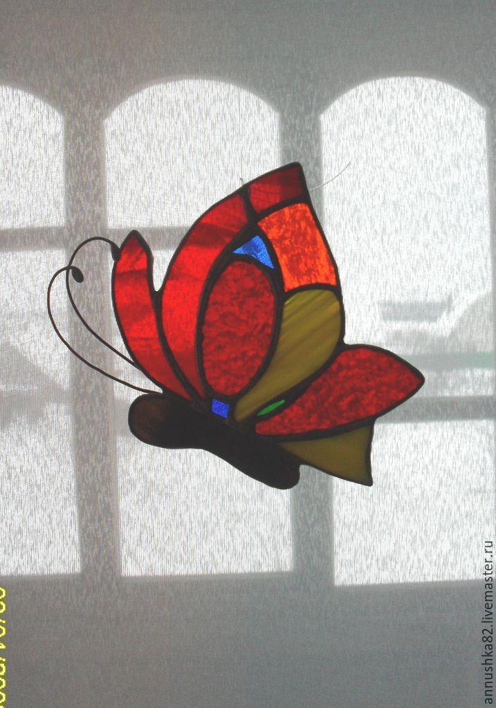 Купить Витражная бабочка - комбинированный, бабочка, стекло, Витраж, Витраж Тиффани, стекло, олово