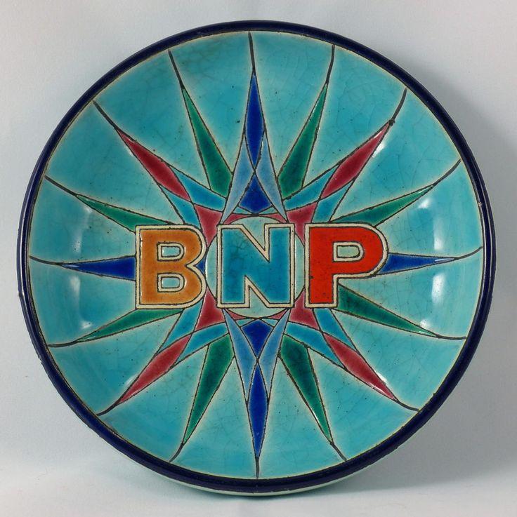 Coupe cendrier vide poche publicitaire banque BNP émail Longwy