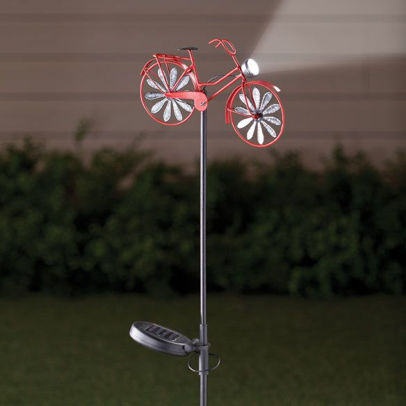 Solar Powered Old-Fashioned Bicycle w/Light Outdoor Garden Wind Spinner #Unbranded