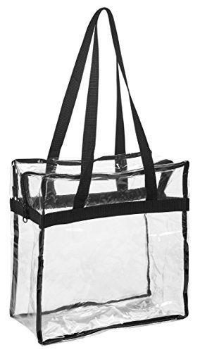 "Clear Tote Bag NFL Stadium Approved - 12"" X 12"" X 6"" - Shoulder straps and zippered top. The clear bag is perfect for work, school, sports games and concerts. Meets NFL and PGA Tournament guidelines. -- More info could be found at the image url. Amazon Affiliate Program's Ads."
