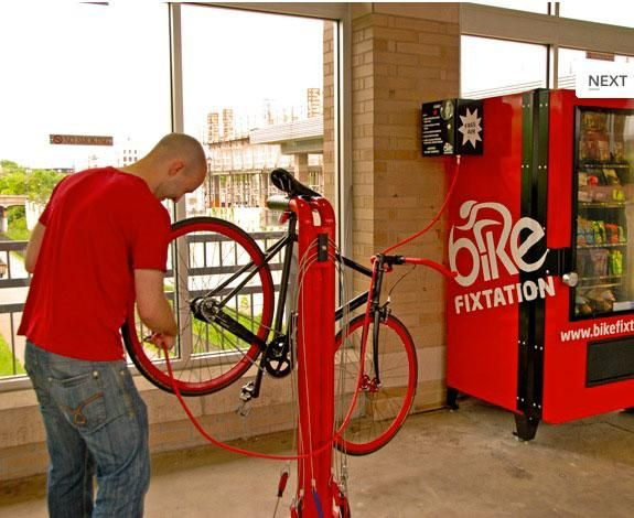Minneapolis, USA has its first public bike fix station. At the station, funnily enough.