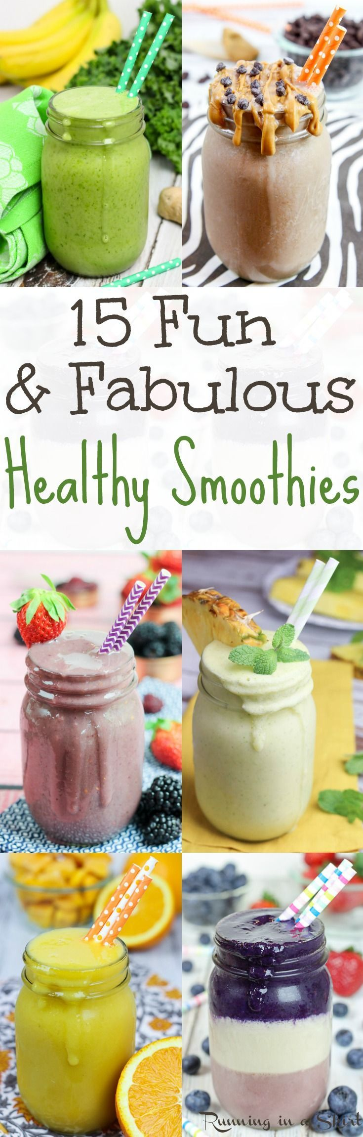 15 Fun & Fabulous Healthy Smoothie recipes.  Simple and easy smoothies for breakfast, meal replacement or snacks.  Great for energy, detox or general health!  All are simple, easy, clean eating and de (Easy Meal Prep For One)