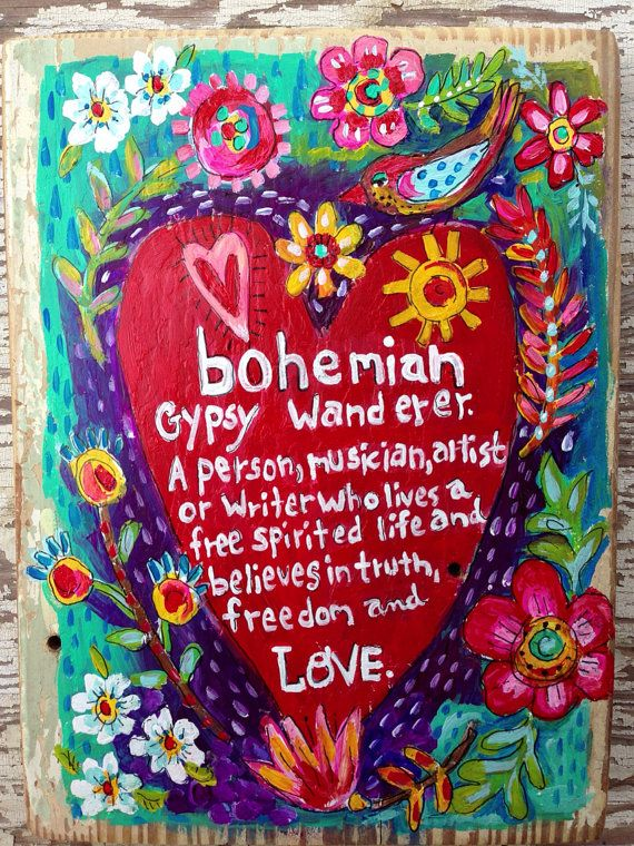 Bohemian Heart Original Painting on Rustic Wood on Etsy, $58.00