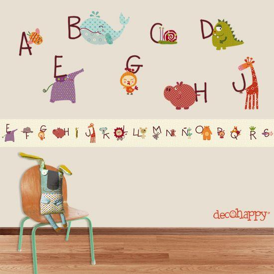 Cenefa infantil Abc animales felices adhesiva #cenefasinfantiles #cenefasdecoraivas #cenefasadhesivas #abc