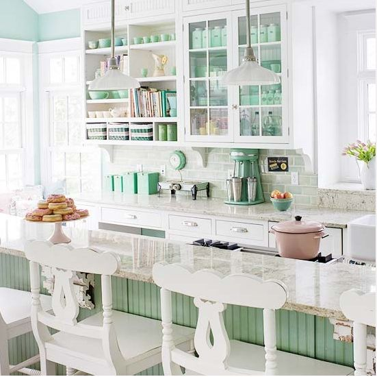 can't wait for my glass kitchen doors so I can display my pastel milk glass collection- via Décor de Provence