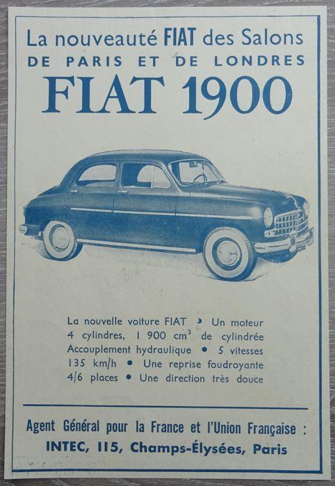 Fiat 1400 / 1900 - heleboel 24 advertenties van 1950 tot 1957  Fiat1400 / 19001400 - 1400 Diesel - 1400 A - B van 1400 - 1900-1900 A-1900 een Granluce - 1900 B24 x tijdschrift advertenties van 1950-19573 x 1950 / 1 x 1953 / 5 x 1954 / 6 x 1955 / 5 x 1956 / 4 x 1957Taal: 20 x Nederlands / 4 x FransAfmetingen: 12 x a4 / 3 x a5 / 9 x a6Alle advertenties zijn opslag in plastic hoesScheepvaart in kartonnen enveloppeVoor de echte Fiat 1400 / 1900 verzamelaar!  EUR 1.00  Meer informatie