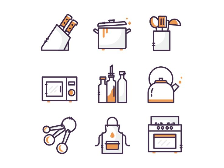 Kitchen Icons P.1 by Vy Tat #Design Popular #Dribbble #shots