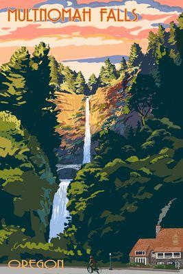 Multnomah Falls, Oregon - Sunset - Lantern Press Poster