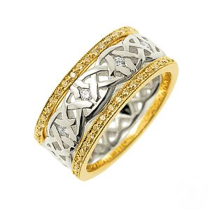 Our Dreams Diamond set Celtic ring, shown here in 18ct yellow gold and 18ct white gold
