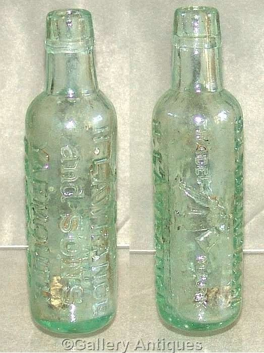 Rare antique Victorian H Lawrance and Sons Yarmouth, Beccles soda syphon mark Large Aqua colour Glass Mineral Bottle c.1880's (ref: 3004)
