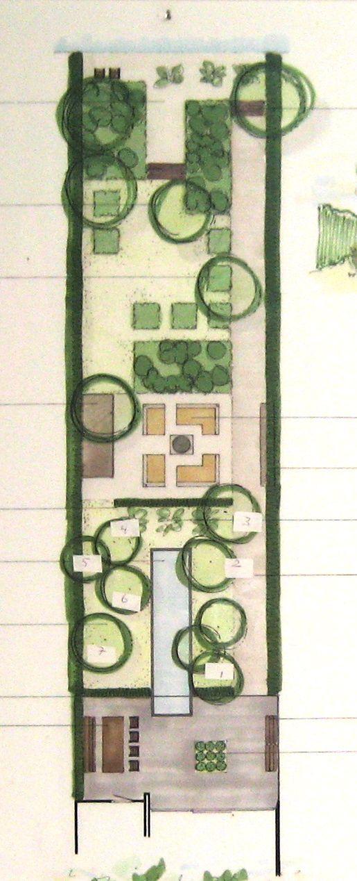 Tuin in Britsum. Verschillende delen van de tuin zijn bereikbaar over het pad aan de rechterkant van de tuin. Dit pad is een verlenging van de gang in de woning, die daar ook de verschillende open ruimtes verbindt. Ontwerp 2008 IJsbrand Maaskant