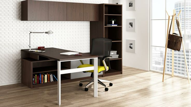 """Paoli """"Kindle"""" casegoods - Associate offices (laminate) & Executive offices (wood veneer); Columbian Walnut finish with white laminate (no bookcase in quote)"""