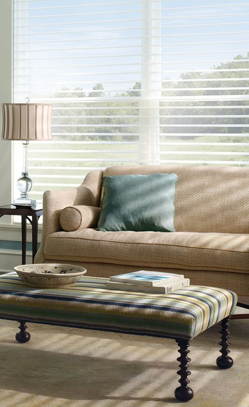 Radiate a responsible style with the light filtering innovation of Silhouette® window shadings. ♦ Hunter Douglas window treatments #LivingRoom