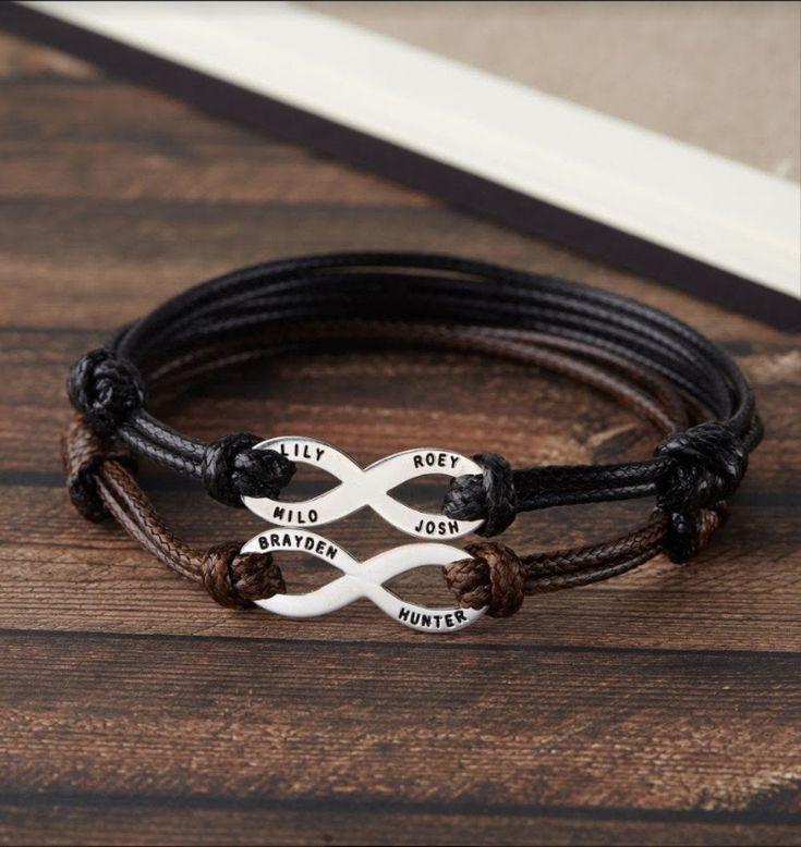 Dad bracelet with kids names father daughter bracelet