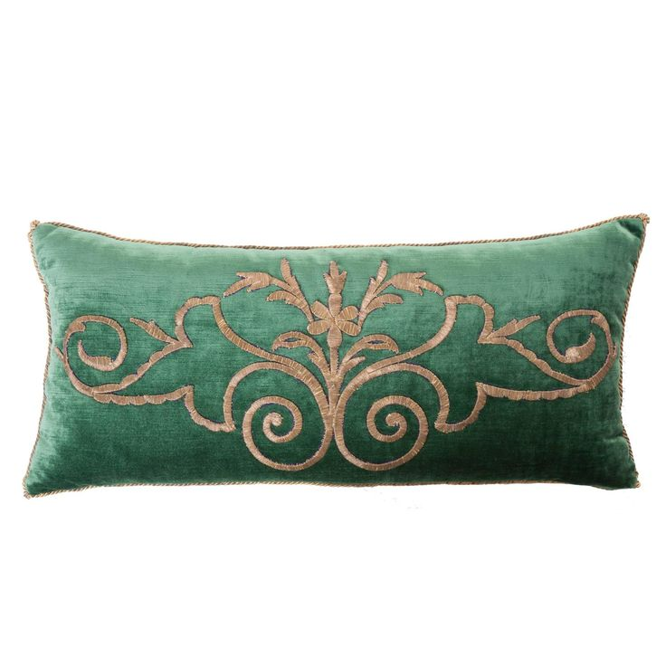 Antique Ottoman Empire raised gold metallic dival embroidery on dark jade velvet. Pillow is hand trimmed with vintage gold metallic cording knotted in the corners. Down filled.   B. Viz. Designs   bviz.com