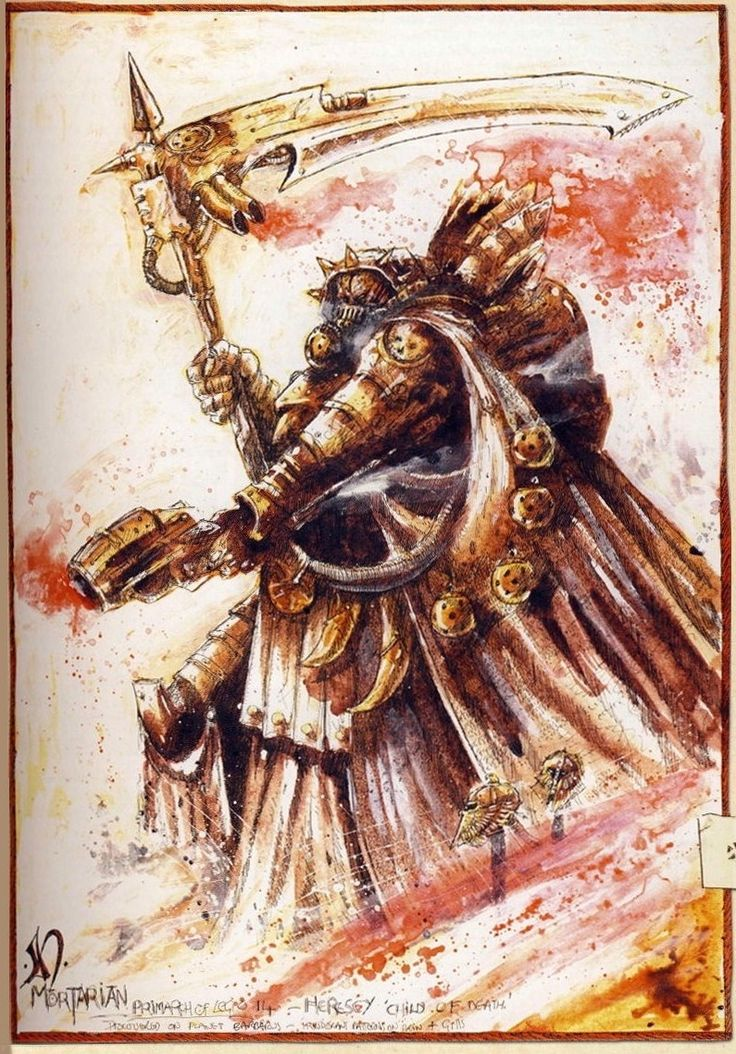 The Primarch Mortarion in battle during the Great Crusade