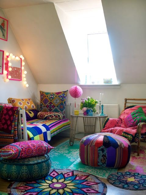 So colourful from Homespun Style of Lea owner of Danish Shop ButikNo, Living Room