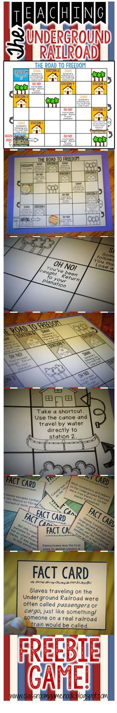 Review the Underground Railroad with this easy FREEBIE printable game! Works great as an activity during your Civil War Unit