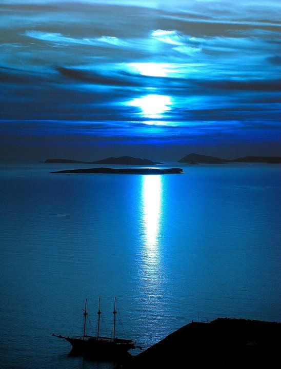 quote:  Astypalea, Greece, under the moonlight: Favorite Places, Blue Paradis, Color, Greece, Beautiful, Astypalea Islands, Photography, The Sea, Sailing Boats