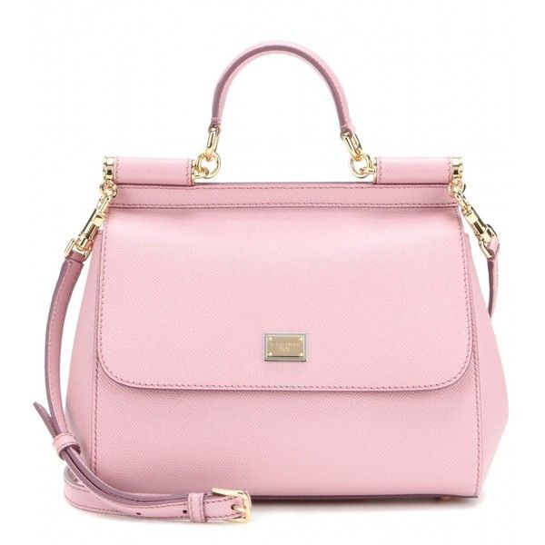 Dolce & Gabbana Miss Sicily Mini Leather Tote (£960) ❤ liked on Polyvore featuring bags, handbags, tote bags, purses, bolsas, pink, pink leather purse, genuine leather tote, pink leather handbag and leather handbags