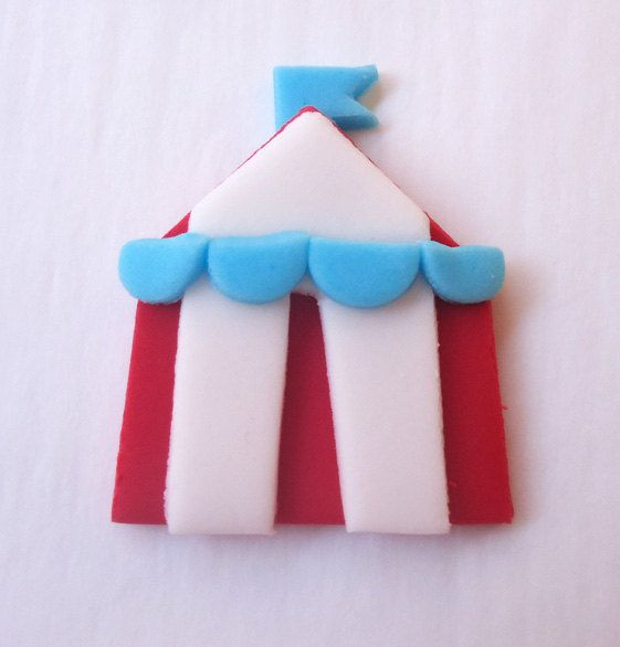 Edible Cupcake Toppers Circus Big Tops and Clowns by CakesAndKids