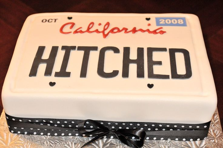Hitched - Small wedding cake for a couple that went to California to get married legally (gay couple).  I tried to duplicate a California license plate for them.  Fun cake!