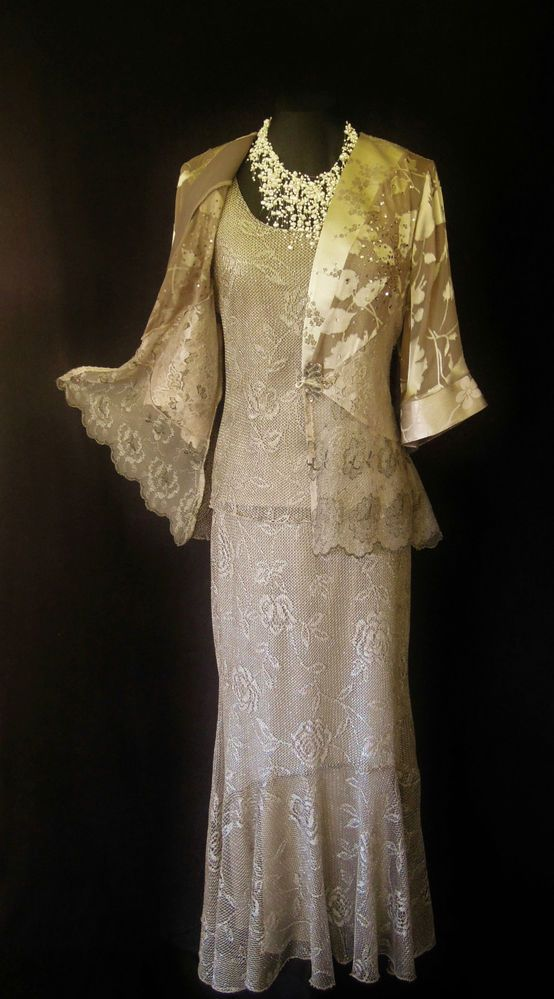 SPENCER ALEXIS Gold Wedding Outfit Size 12 Lace Skirt Suit ...
